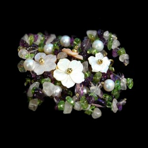 Broche Jardin En Amatista, Peridoto y Perlas